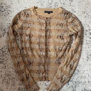 Express cardigan reptile snake brown button small
